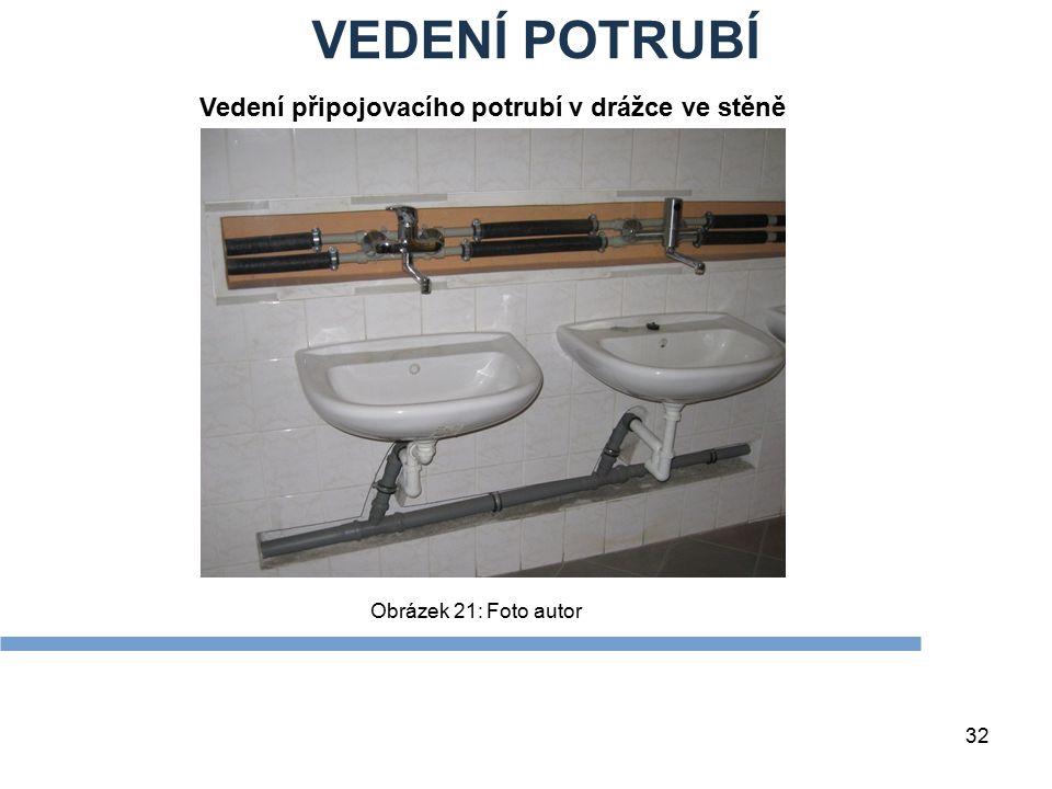 VEDENÍ POTRUBÍ 32 Obrázek 21: Foto autor Vedení připojovacího potrubí v drážce ve stěně