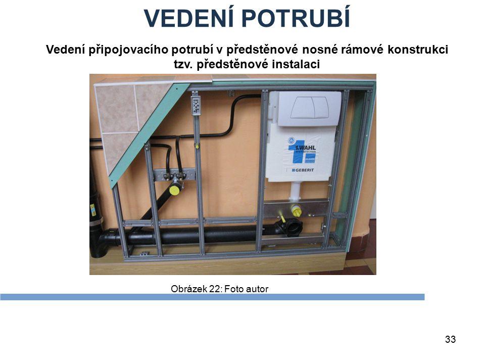 VEDENÍ POTRUBÍ 33 Obrázek 22: Foto autor Vedení připojovacího potrubí v předstěnové nosné rámové konstrukci tzv. předstěnové instalaci