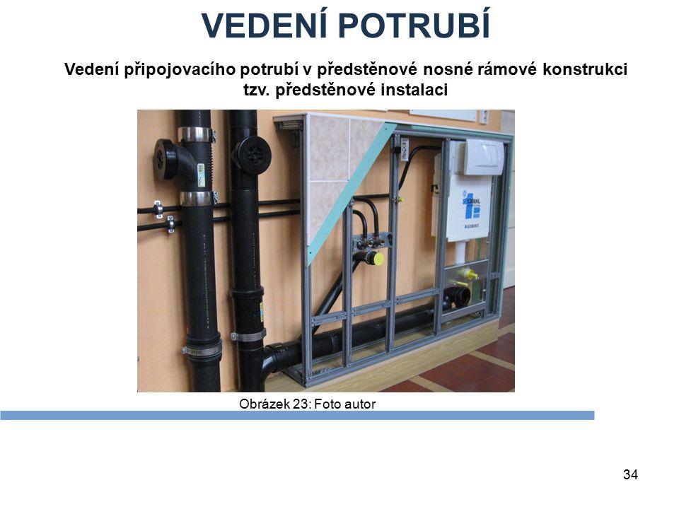 VEDENÍ POTRUBÍ 34 Obrázek 23: Foto autor Vedení připojovacího potrubí v předstěnové nosné rámové konstrukci tzv. předstěnové instalaci