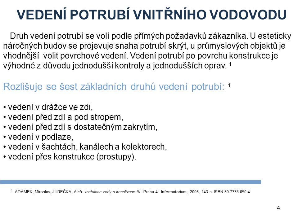 VEDENÍ POTRUBÍ VNITŘNÍHO VODOVODU 4 1 ADÁMEK, Miroslav, JUREČKA, Aleš. Instalace vody a kanalizace III : Praha 4: Informatorium, 2006, 143 s. ISBN 80-