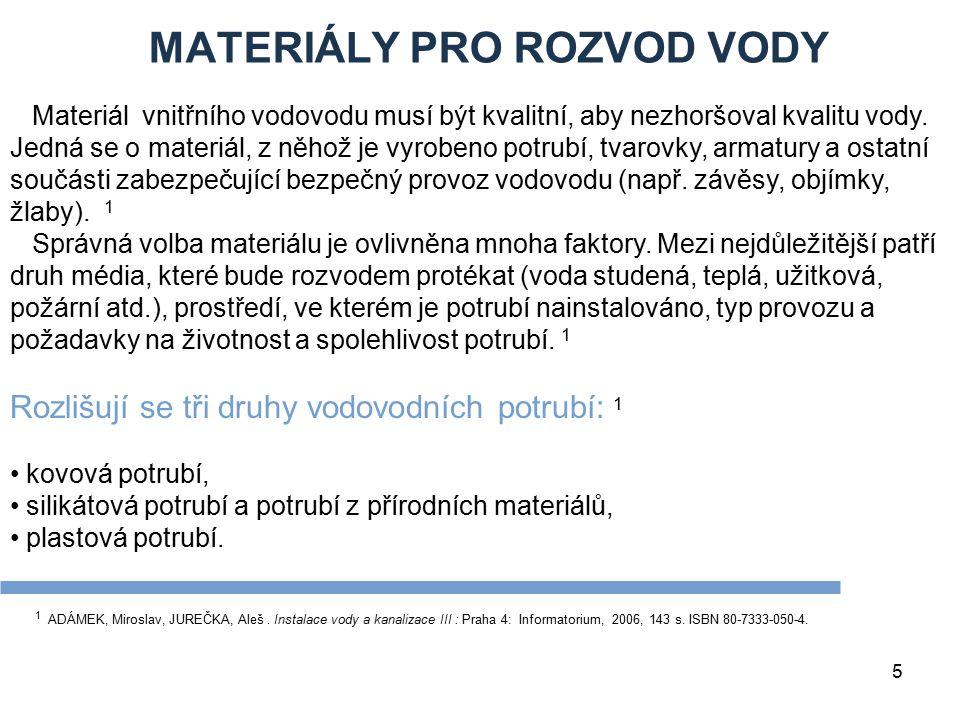 MATERIÁLY PRO ROZVOD VODY 5 1 ADÁMEK, Miroslav, JUREČKA, Aleš. Instalace vody a kanalizace III : Praha 4: Informatorium, 2006, 143 s. ISBN 80-7333-050