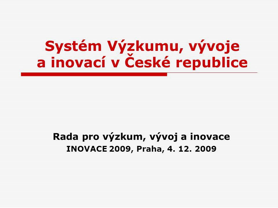 Systém Výzkumu, vývoje a inovací v České republice Rada pro výzkum, vývoj a inovace INOVACE 2009, Praha, 4.