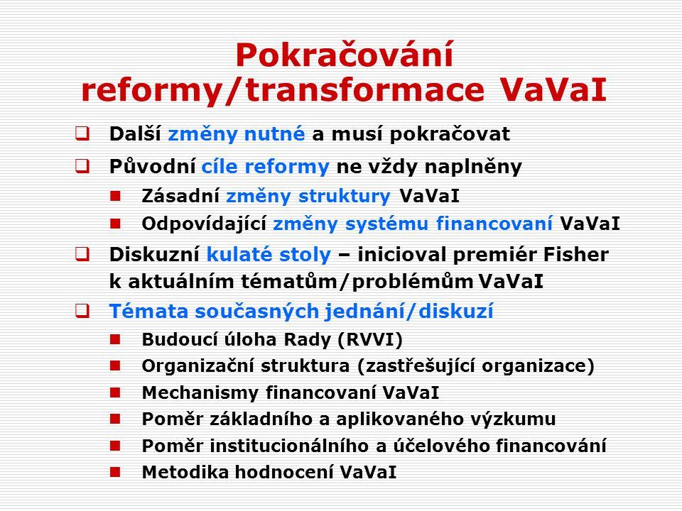  Další změny nutné a musí pokračovat  Původní cíle reformy ne vždy naplněny Zásadní změny struktury VaVaI Odpovídající změny systému financovaní VaVaI  Diskuzní kulaté stoly – inicioval premiér Fisher k aktuálním tématům/problémům VaVaI  Témata současných jednání/diskuzí Budoucí úloha Rady (RVVI) Organizační struktura (zastřešující organizace) Mechanismy financovaní VaVaI Poměr základního a aplikovaného výzkumu Poměr institucionálního a účelového financování Metodika hodnocení VaVaI Pokračování reformy/transformace VaVaI