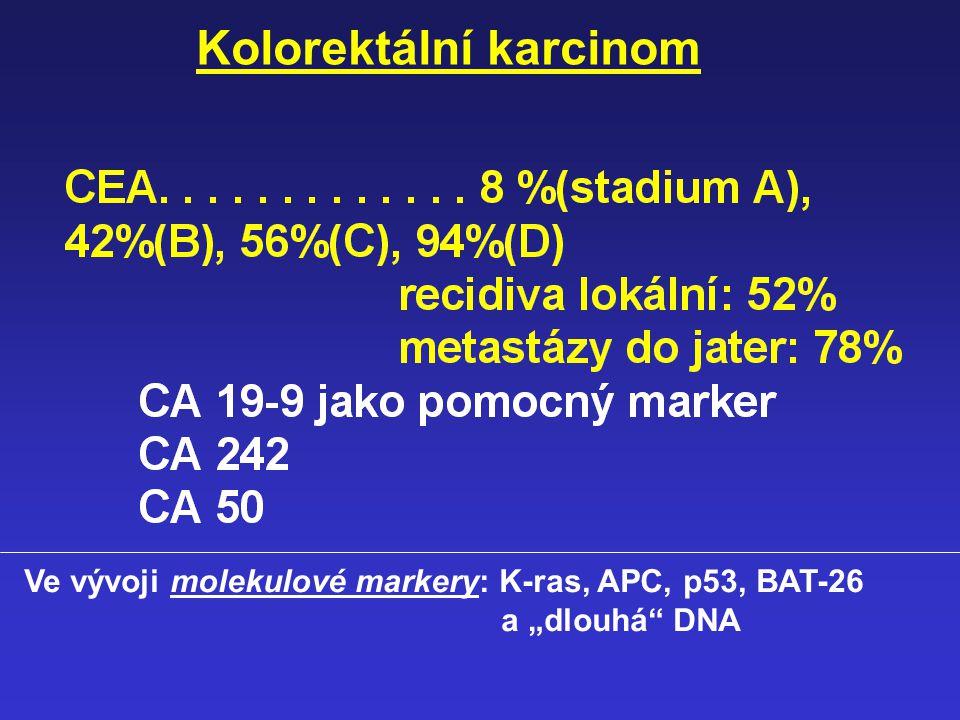 Normální urothel Ta T1 T2-4 Tis T1T2-4 Ta N+/M+ RAS TP53 RB 5qDel, 3pDel 6qDel, 11pDel, 18qDel 9qDel 9pDel (INK4A) Vývoj molekulových markerů urothelk