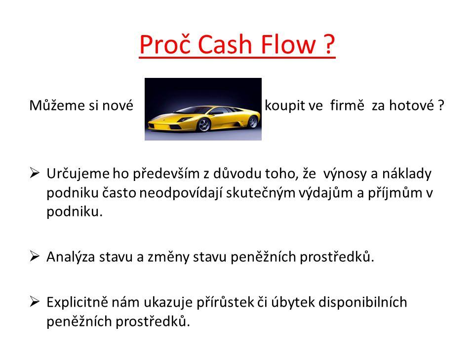 Proč Cash Flow .Můžeme si nové koupit ve firmě za hotové .