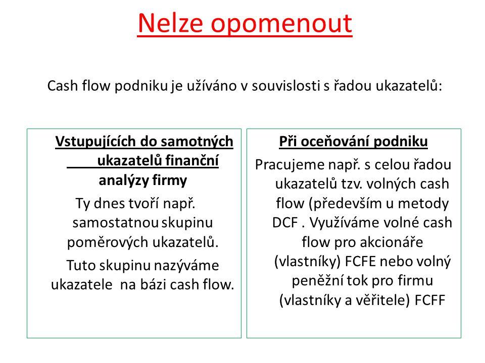 Nelze opomenout Cash flow podniku je užíváno v souvislosti s řadou ukazatelů: Vstupujících do samotných ukazatelů finanční analýzy firmy Ty dnes tvoří např.