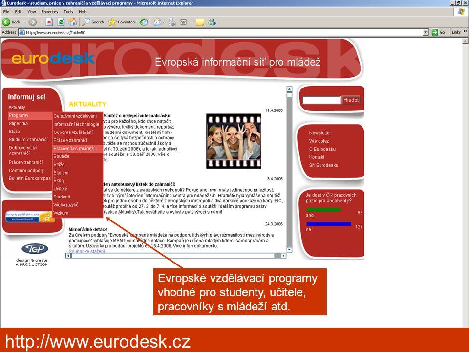 Kongres výchovného poradenství, Pardubice 2006 http://www.eurodesk.cz Evropské vzdělávací programy vhodné pro studenty, učitele, pracovníky s mládeží atd.