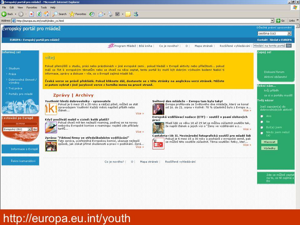 Kongres výchovného poradenství, Pardubice 2006 http://europa.eu.int/youth