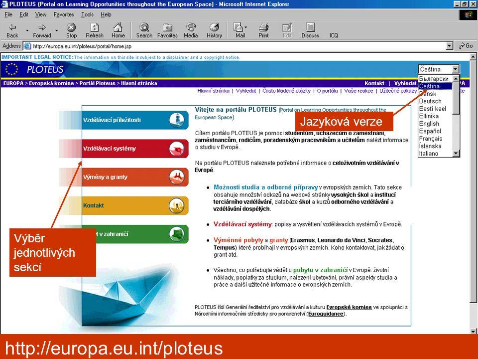Kongres výchovného poradenství, Pardubice 2006 Výběr jednotlivých sekcí Jazyková verze http://europa.eu.int/ploteus