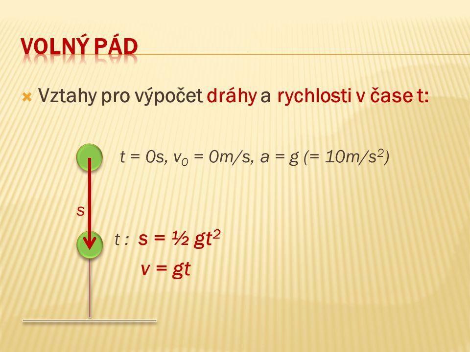  Vztahy pro výpočet dráhy a rychlosti v čase t: t = 0s, v 0 = 0m/s, a = g (= 10m/s 2 ) s t : s = ½ gt 2 v = gt