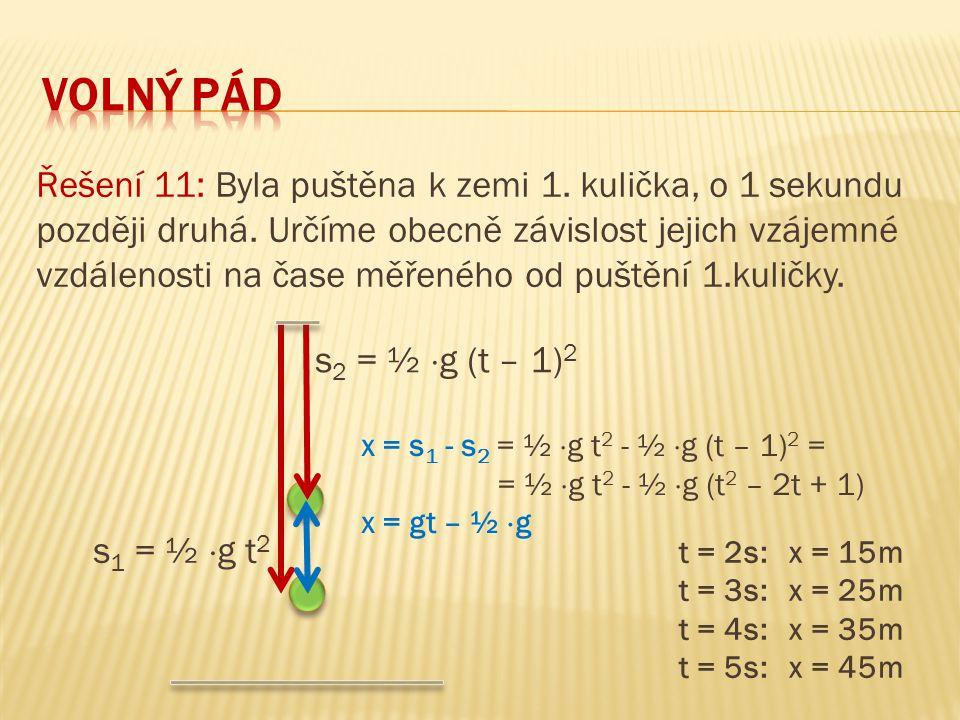 Řešení 11: Byla puštěna k zemi 1. kulička, o 1 sekundu později druhá. Určíme obecně závislost jejich vzájemné vzdálenosti na čase měřeného od puštění