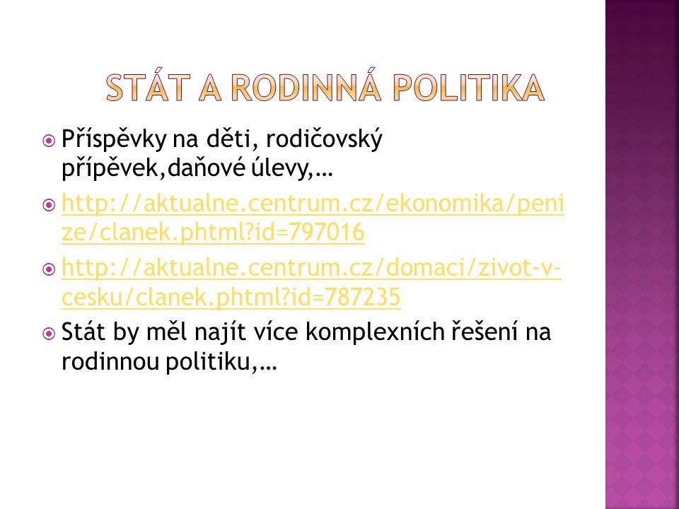  Příspěvky na děti, rodičovský přípěvek,daňové úlevy,…  http://aktualne.centrum.cz/ekonomika/peni ze/clanek.phtml?id=797016 http://aktualne.centrum.cz/ekonomika/peni ze/clanek.phtml?id=797016  http://aktualne.centrum.cz/domaci/zivot-v- cesku/clanek.phtml?id=787235 http://aktualne.centrum.cz/domaci/zivot-v- cesku/clanek.phtml?id=787235  Stát by měl najít více komplexních řešení na rodinnou politiku,…
