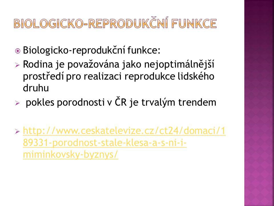  Biologicko-reprodukční funkce:  Rodina je považována jako nejoptimálnější prostředí pro realizaci reprodukce lidského druhu  pokles porodnosti v ČR je trvalým trendem  http://www.ceskatelevize.cz/ct24/domaci/1 89331-porodnost-stale-klesa-a-s-ni-i- miminkovsky-byznys/ http://www.ceskatelevize.cz/ct24/domaci/1 89331-porodnost-stale-klesa-a-s-ni-i- miminkovsky-byznys/