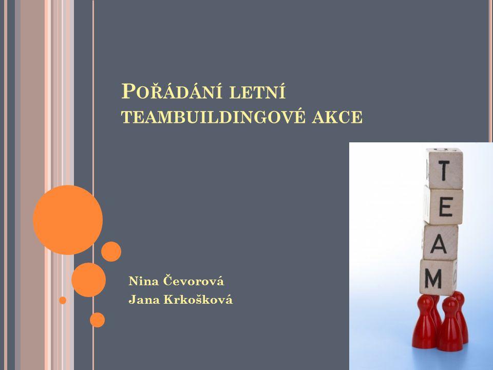 P OŘÁDÁNÍ LETNÍ TEAMBUILDINGOVÉ AKCE Nina Čevorová Jana Krkošková