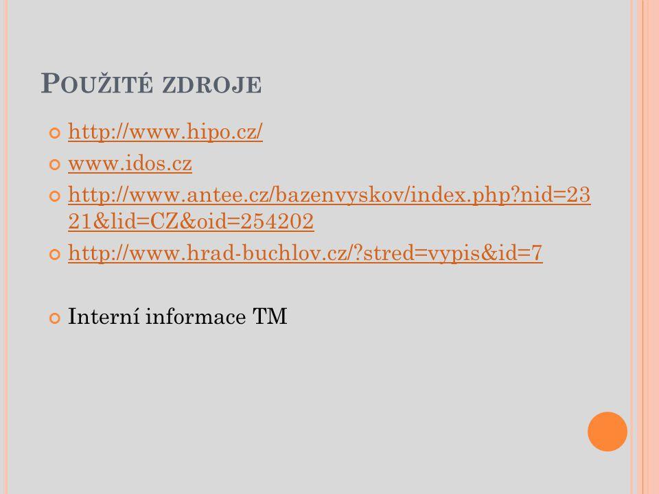 P OUŽITÉ ZDROJE http://www.hipo.cz/ www.idos.cz http://www.antee.cz/bazenvyskov/index.php?nid=23 21&lid=CZ&oid=254202 http://www.hrad-buchlov.cz/?stred=vypis&id=7 Interní informace TM