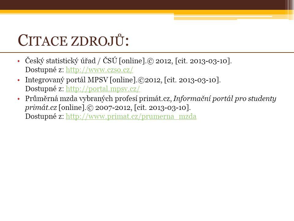 C ITACE ZDROJŮ : Český statistický úřad / ČSÚ [online].© 2012, [cit.