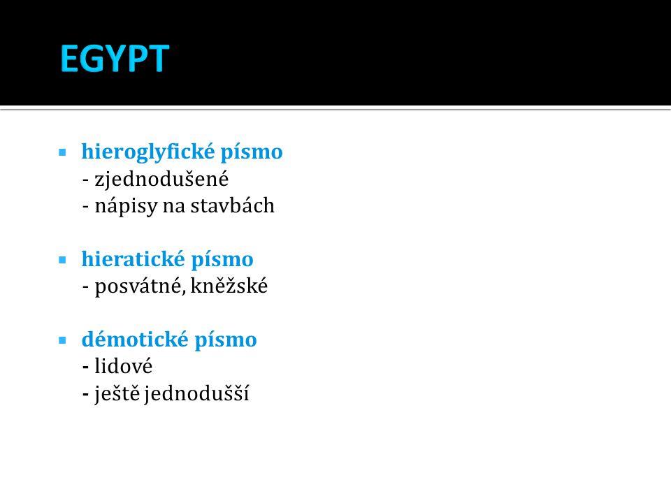  hieroglyfické písmo - zjednodušené - nápisy na stavbách  hieratické písmo - posvátné, kněžské  démotické písmo - lidové - ještě jednodušší