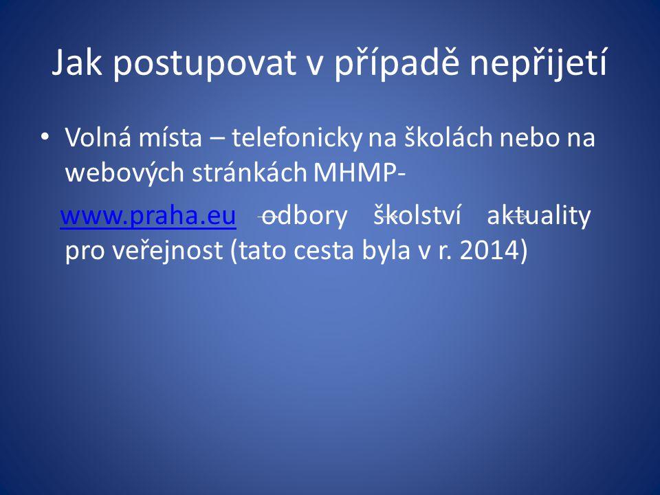 Jak postupovat v případě nepřijetí Volná místa – telefonicky na školách nebo na webových stránkách MHMP- www.praha.eu odbory školství aktuality pro ve