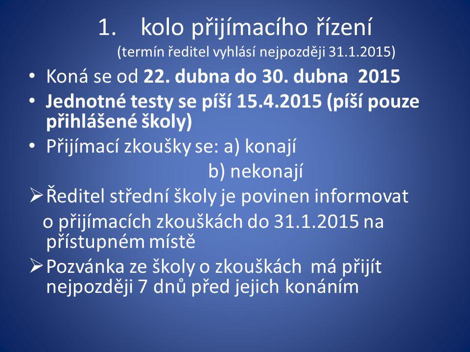 1.kolo přijímacího řízení (termín ředitel vyhlásí nejpozději 31.1.2015) Koná se od 22. dubna do 30. dubna 2015 Jednotné testy se píší 15.4.2015 (píší