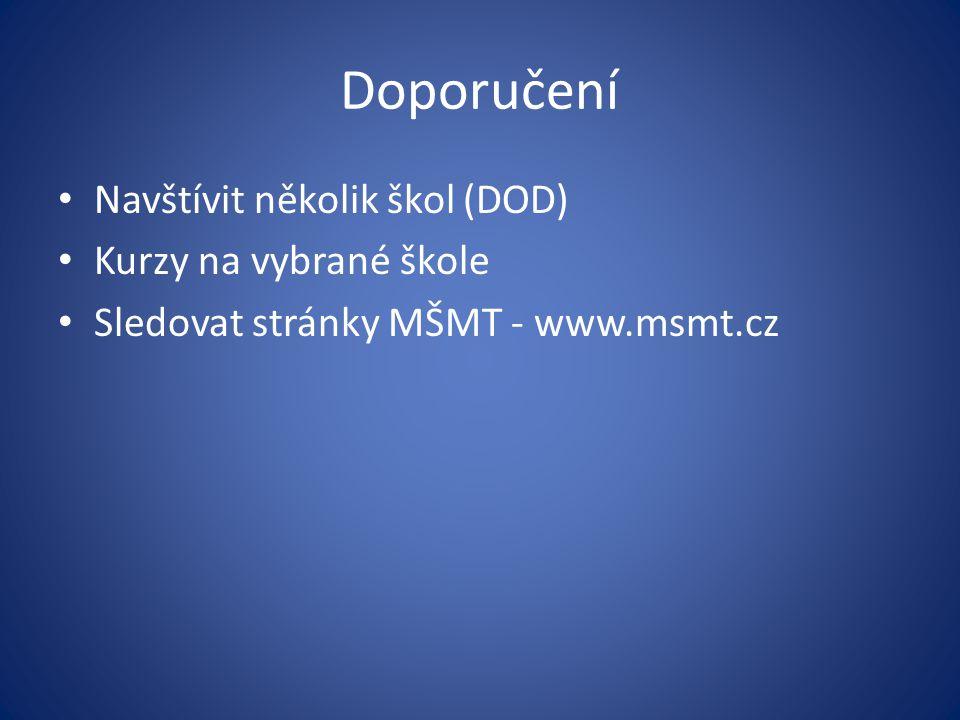 Doporučení Navštívit několik škol (DOD) Kurzy na vybrané škole Sledovat stránky MŠMT - www.msmt.cz