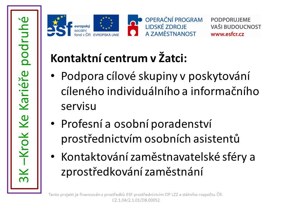 Kontaktní centrum v Žatci: Podpora cílové skupiny v poskytování cíleného individuálního a informačního servisu Profesní a osobní poradenství prostřednictvím osobních asistentů Kontaktování zaměstnavatelské sféry a zprostředkování zaměstnání Tento projekt je financován z prostředků ESF prostřednictvím OP LZZ a státního rozpočtu ČR.