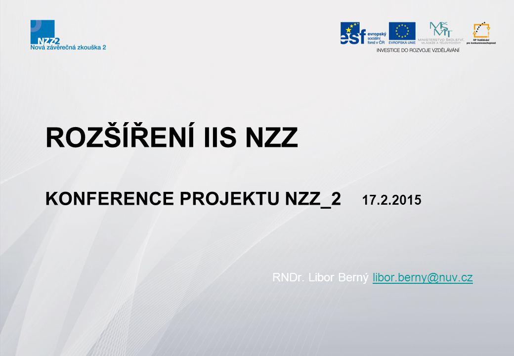 Rozšíření IIS NZZ se týkalo tří částí: 1.Software pro zpracování závěrečné zkoušky formou online (elektronické) písemné zkoušky a generování témat na žáka 2.Software pro žáky se speciálními vzdělávacími potřebami 3.Software pro e-learningové vzdělávání jednotlivých aktérů přípravy JZZZ