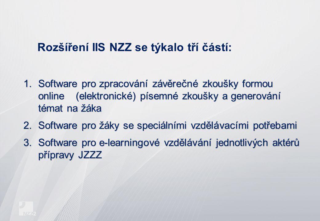 Rozšíření IIS NZZ se týkalo tří částí: 1.Software pro zpracování závěrečné zkoušky formou online (elektronické) písemné zkoušky a generování témat na