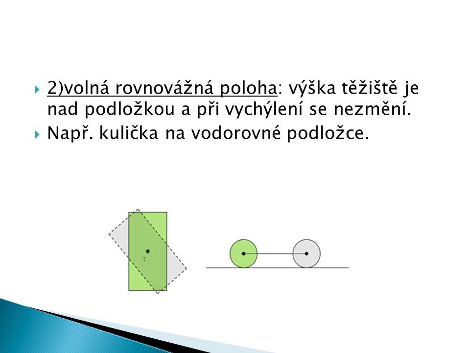  2)volná rovnovážná poloha: výška těžiště je nad podložkou a při vychýlení se nezmění.