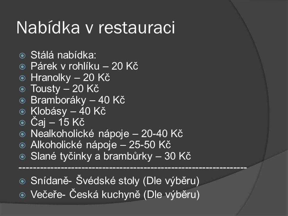 Nabídka v restauraci  Stálá nabídka:  Párek v rohlíku – 20 Kč  Hranolky – 20 Kč  Tousty – 20 Kč  Bramboráky – 40 Kč  Klobásy – 40 Kč  Čaj – 15 Kč  Nealkoholické nápoje – 20-40 Kč  Alkoholické nápoje – 25-50 Kč  Slané tyčinky a brambůrky – 30 Kč ------------------------------------------------------------------  Snídaně- Švédské stoly (Dle výběru)  Večeře- Česká kuchyně (Dle výběru)