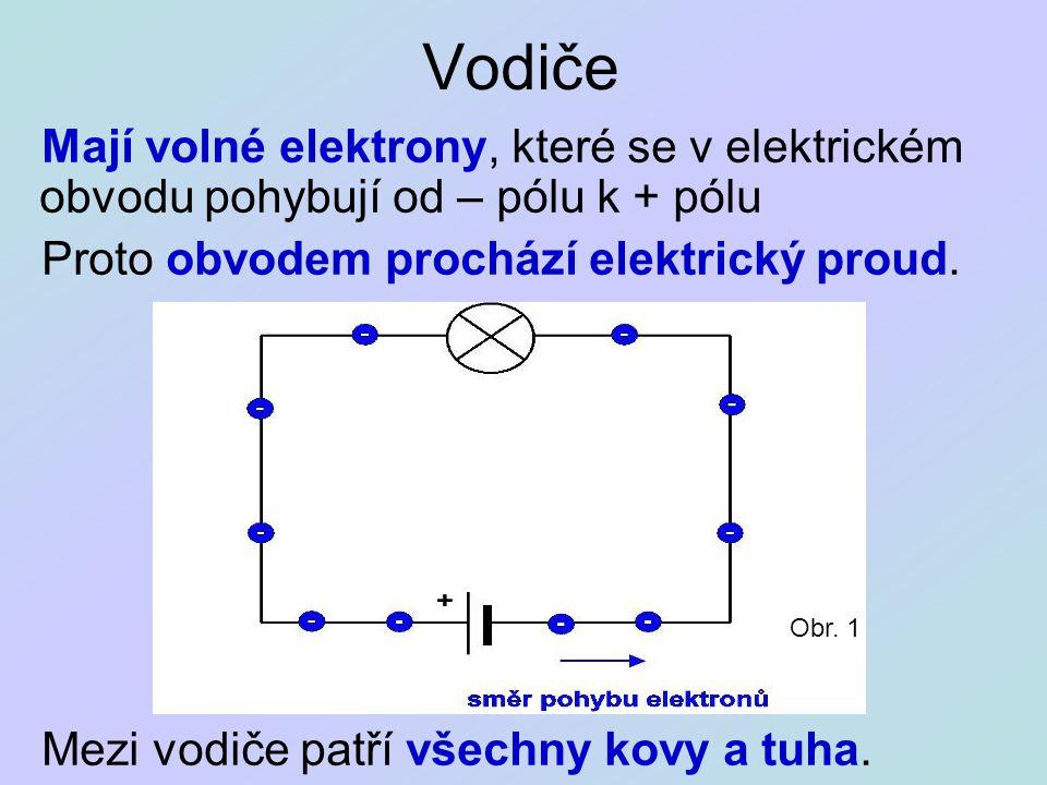 Vodiče Mají volné elektrony, které se v elektrickém obvodu pohybují od – pólu k + pólu Proto obvodem prochází elektrický proud. Mezi vodiče patří všec
