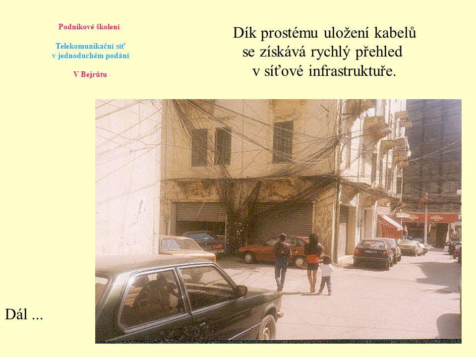 Podnikové školení Telekomunikační síť v jednoduchém podání V Bejrůtu Precizní dokumentace všech spojení pomáhá rychlému zapojení každého účastníka.