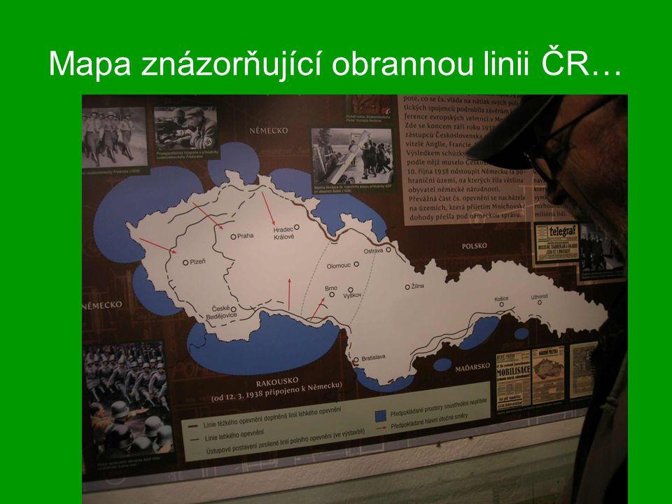 Mapa znázorňující obrannou linii ČR…