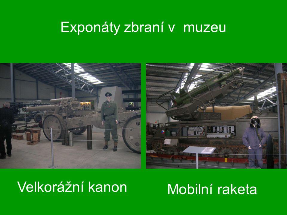 Exponáty zbraní v muzeu Velkorážní kanon Mobilní raketa