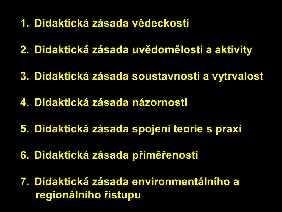 1.Didaktická zásada vědeckosti 2.Didaktická zásada uvědomělosti a aktivity 3.Didaktická zásada soustavnosti a vytrvalost 4.Didaktická zásada názornost
