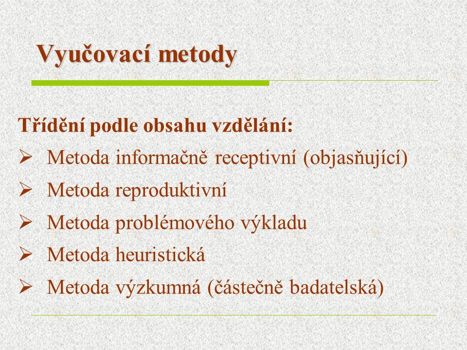 Vyučovací metody Třídění podle obsahu vzdělání:  Metoda informačně receptivní (objasňující)  Metoda reproduktivní  Metoda problémového výkladu  Me