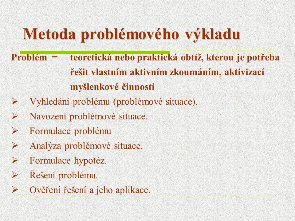 Metoda problémového výkladu Problém = teoretická nebo praktická obtíž, kterou je potřeba řešit vlastním aktivním zkoumáním, aktivizací myšlenkové činn