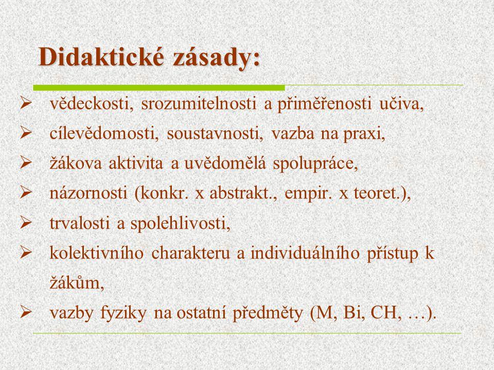 Didaktické zásady:  vědeckosti, srozumitelnosti a přiměřenosti učiva,  cílevědomosti, soustavnosti, vazba na praxi,  žákova aktivita a uvědomělá sp
