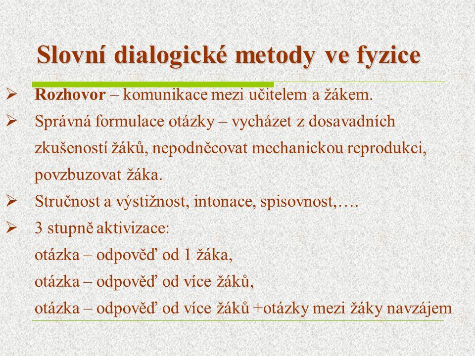 Slovní dialogické metody ve fyzice  Rozhovor – komunikace mezi učitelem a žákem.  Správná formulace otázky – vycházet z dosavadních zkušeností žáků,