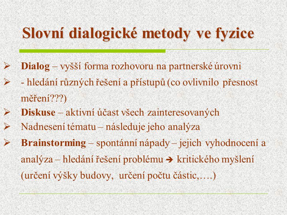 Slovní dialogické metody ve fyzice  Dialog – vyšší forma rozhovoru na partnerské úrovni  - hledání různých řešení a přístupů (co ovlivnilo přesnost