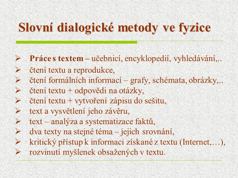 Slovní dialogické metody ve fyzice  Práce s textem – učebnicí, encyklopedií, vyhledávání,..  čtení textu a reprodukce,  čtení formálních informací