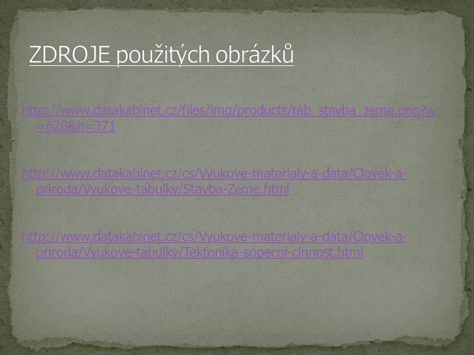 http://www.datakabinet.cz/files/img/products/tab_stavba_zeme.png?w =620&h=371 http://www.datakabinet.cz/cs/Vyukove-materialy-a-data/Clovek-a- priroda/Vyukove-tabulky/Stavba-Zeme.html http://www.datakabinet.cz/cs/Vyukove-materialy-a-data/Clovek-a- priroda/Vyukove-tabulky/Tektonika-sopecni-cinnost.html