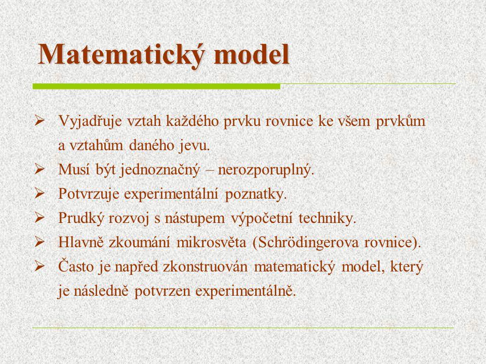 Matematický model  Vyjadřuje vztah každého prvku rovnice ke všem prvkům a vztahům daného jevu.