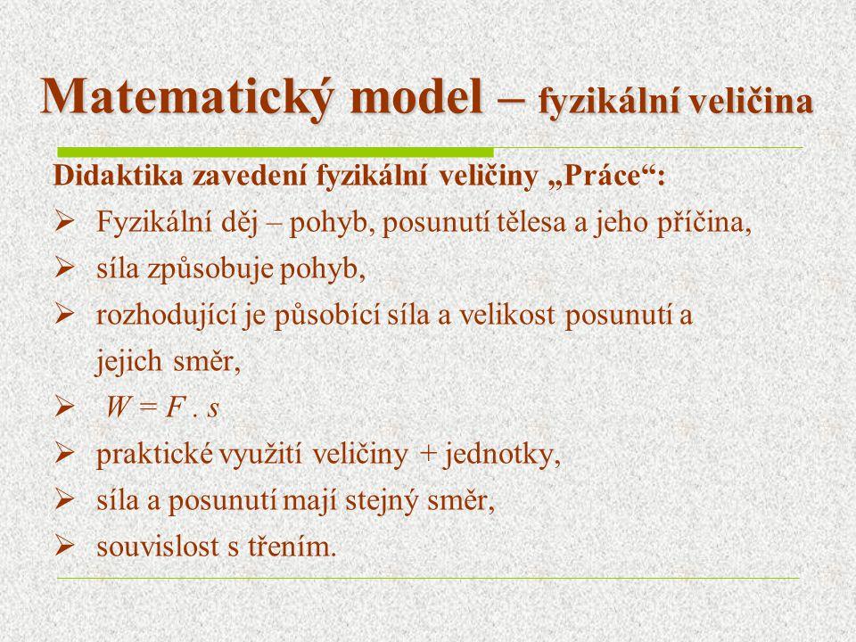 """Matematický model – fyzikální veličina Didaktika zavedení fyzikální veličiny """"Práce :  Fyzikální děj – pohyb, posunutí tělesa a jeho příčina,  síla způsobuje pohyb,  rozhodující je působící síla a velikost posunutí a jejich směr,  W = F."""