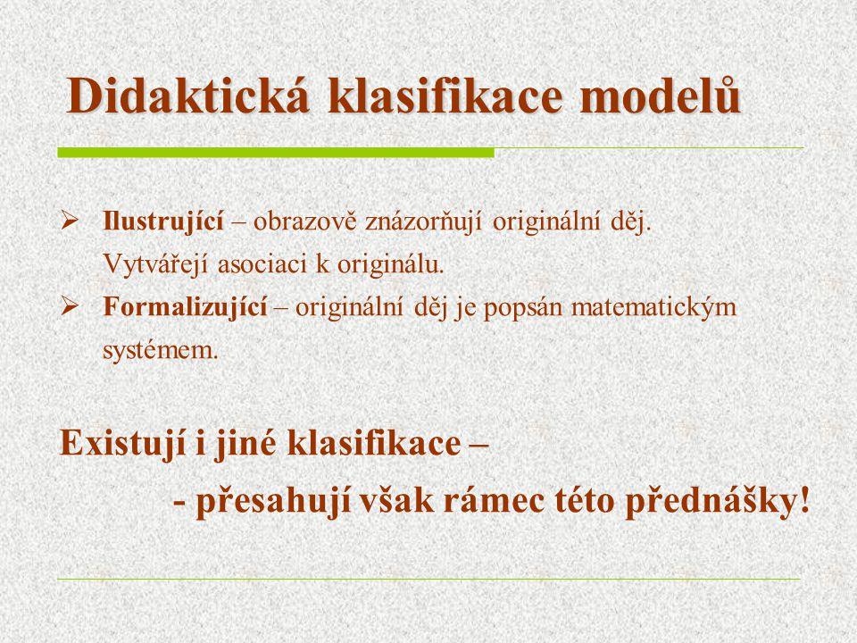 Didaktická klasifikace modelů  Ilustrující – obrazově znázorňují originální děj.