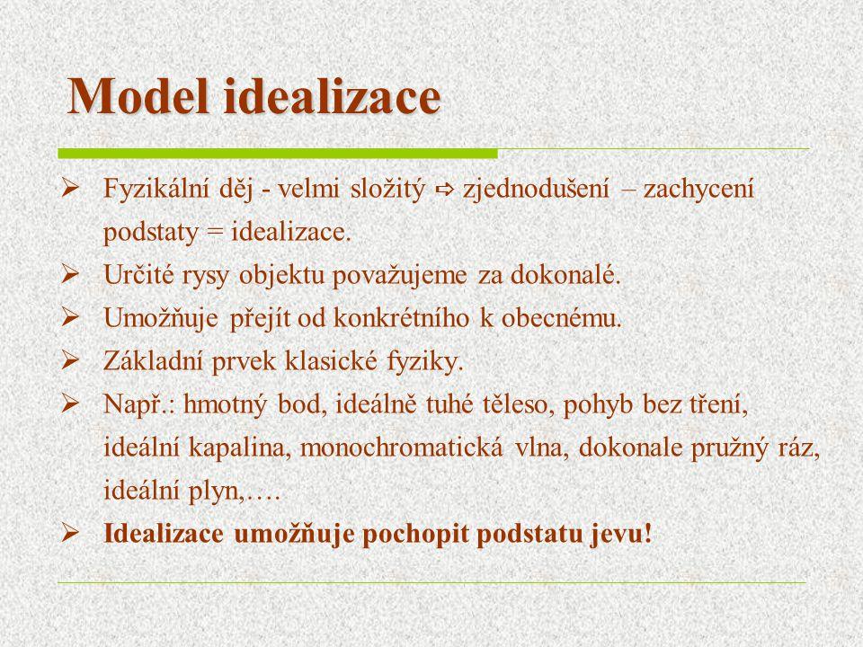 Model analogie  Modely se liší svoji podstatou, ale mají shodné některé formální prvky – mluvíme o fyzikální analogii.