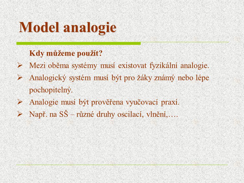 Model analogie Kdy můžeme použít.  Mezi oběma systémy musí existovat fyzikální analogie.
