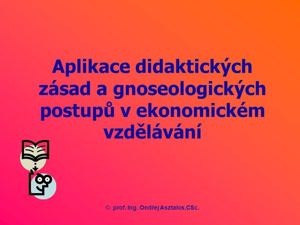 Aplikace didaktických zásad a gnoseologických postupů v ekonomickém vzdělávání ©prof.