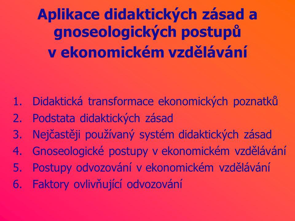 Aplikace didaktických zásad a gnoseologických postupů v ekonomickém vzdělávání 1.Didaktická transformace ekonomických poznatků 2.Podstata didaktických zásad 3.Nejčastěji používaný systém didaktických zásad 4.Gnoseologické postupy v ekonomickém vzdělávání 5.Postupy odvozování v ekonomickém vzdělávání 6.Faktory ovlivňující odvozování