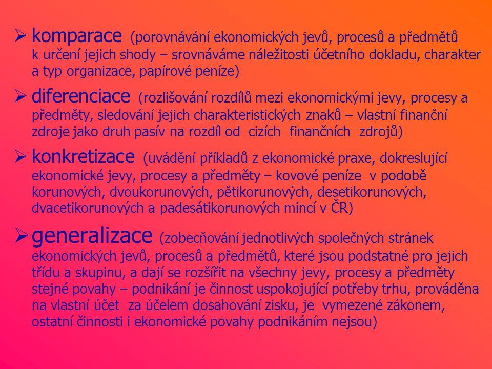  komparace (porovnávání ekonomických jevů, procesů a předmětů k určení jejich shody – srovnáváme náležitosti účetního dokladu, charakter a typ organizace, papírové peníze)  diferenciace (rozlišování rozdílů mezi ekonomickými jevy, procesy a předměty, sledování jejich charakteristických znaků – vlastní finanční zdroje jako druh pasív na rozdíl od cizích finančních zdrojů)  konkretizace (uvádění příkladů z ekonomické praxe, dokreslující ekonomické jevy, procesy a předměty – kovové peníze v podobě korunových, dvoukorunových, pětikorunových, desetikorunových, dvacetikorunových a padesátikorunových mincí v ČR)  generalizace (zobecňování jednotlivých společných stránek ekonomických jevů, procesů a předmětů, které jsou podstatné pro jejich třídu a skupinu, a dají se rozšířit na všechny jevy, procesy a předměty stejné povahy – podnikání je činnost uspokojující potřeby trhu, prováděna na vlastní účet za účelem dosahování zisku, je vymezené zákonem, ostatní činnosti i ekonomické povahy podnikáním nejsou)