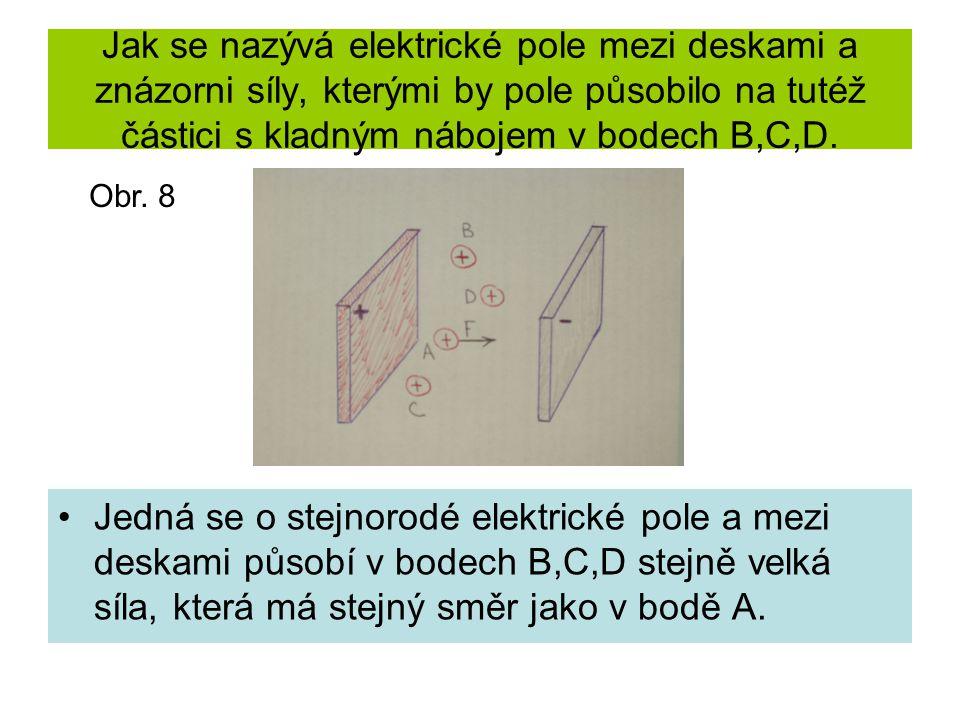 Jak se nazývá elektrické pole mezi deskami a znázorni síly, kterými by pole působilo na tutéž částici s kladným nábojem v bodech B,C,D. Jedná se o ste